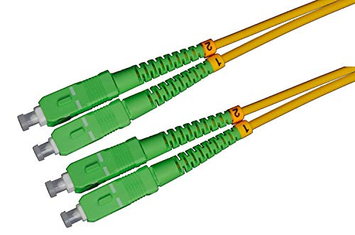 LWL Glasfaser-Kabel – 15m OS2 gelb, SC/UPC auf SC/UPC Stecker, Duplex 9/125 Patchkabel – Lichtwellenleiter 15 Meter