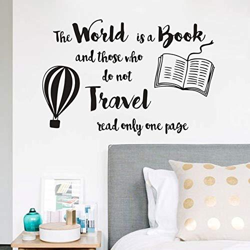 Geiqianjiumai Boek muur sticker citaat wereld bibliotheek muur is boek lezen decoratie hete lucht ballon ontwerp