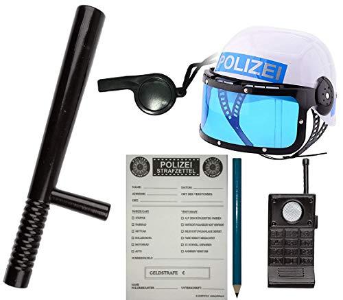 KSS Polizei - Set für Kinder Helm + Strafzettel + Schlagstock + Zubehör für Karneval , Fasching , Verkleiden , Mottoparty