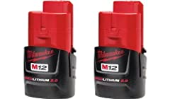 REDLITHIUM has 2.0 AMP hours for extended run time Compatible with all M12 tools Lithium Ion 12 Volts Includes (2) 48-11-2420 batteries