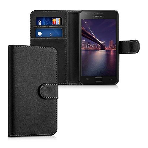 kwmobile Wallet Case Hülle kompatibel mit Samsung Galaxy S2 / S2 Plus - Cover Flip Tasche mit Kartenfach in Schwarz