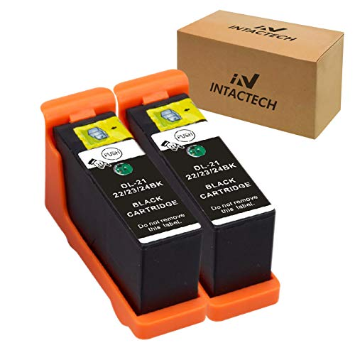 Intactech 2 Black Compatible Dell V515w V715w V313w Dell Series 21 22 23 24 Ink Cartridge Work for Dell V313, V313w, V515w, V715w, P513w, P713w Printer