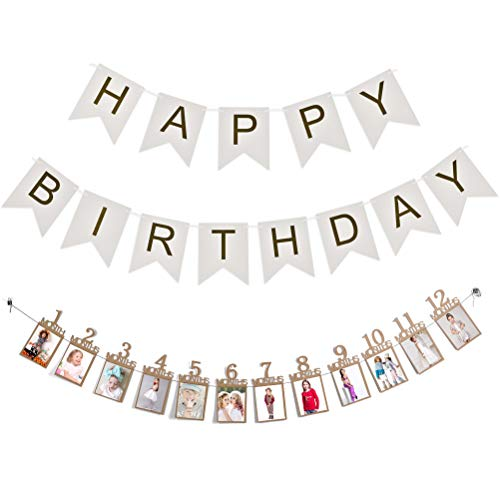 N\A Birthday Photo Banner, 1st Baby Bunting Garland 1-12 Month Milestone Photograph Prop Party Décor, Thickened Kraft Card Paper Frame for First Birthday Celebration Decorations