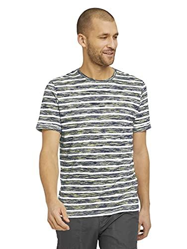 TOM TAILOR Herren 1025990 Stripe T-Shirt, 27127-Pale Yellow Spacedye, L