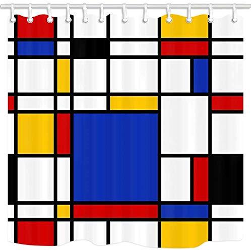 JOOCAR Design-Duschvorhang, geometrisches Dekor, Mondrian-Stil, buntes Karomuster, wasserdichter Stoff, Badezimmer-Dekor-Set mit Haken