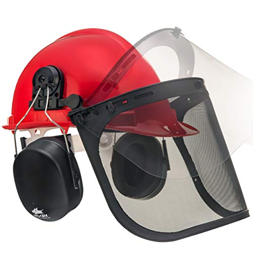 NoCry 6-in-1 Industrial Forestry Safety Helmet and Hearing Protection System with Two Protective...