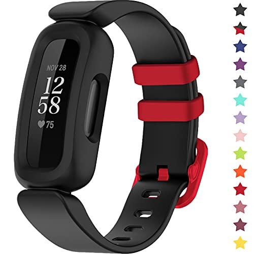 TopPerfekt Armbänder kompatibel mit Fitbit Ace 3 für Kinder, weiches Silikon, wasserdichtes Armband, Zubehör, Sportuhrenarmband Jungen Mädchen (Schwarz/Racer Red)