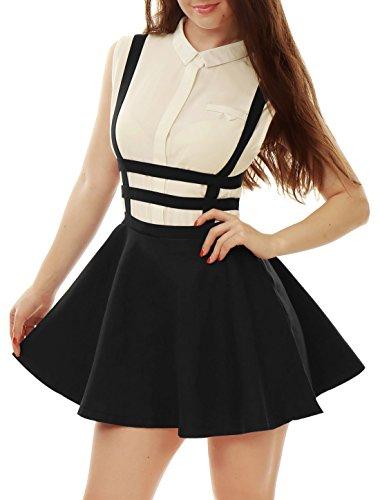 Allegra K Falda Mini con Tirantes Cintura Elástica Falda Acampanada Recortada Corte A-Línea para Mujer Negro S