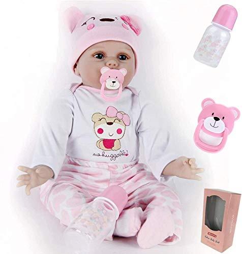 ZIYIUI 22 Pouces 55 cm Réaliste Reborn Bebe Fille Reborn poupée bébé Vinyle de Silicone Souple...