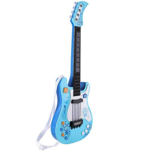 Juguete de guitarra eléctrica ligero, instrumento musical para niños, color azul