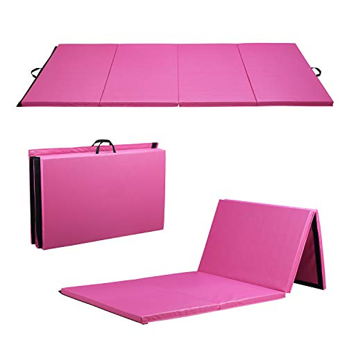 ZENOVA Gymnastics Mat 4'x10'x2'' Large Gym Mats for Tumbling Girl Home Tumble Pad for Gymnastics Pink Mat Children Gifts