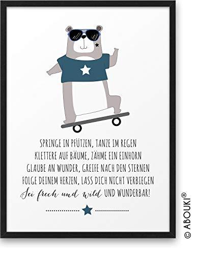 Bär mit Skateboard Frech Wild Wunderbar ABOUKI® Kunstdruck [ideales Geschenk] - moderne Deko - Design Poster Bild Geschenkidee Junge Mädchen Kind Geburtstag Einschulung Kindergarten ungerahmt DIN A4
