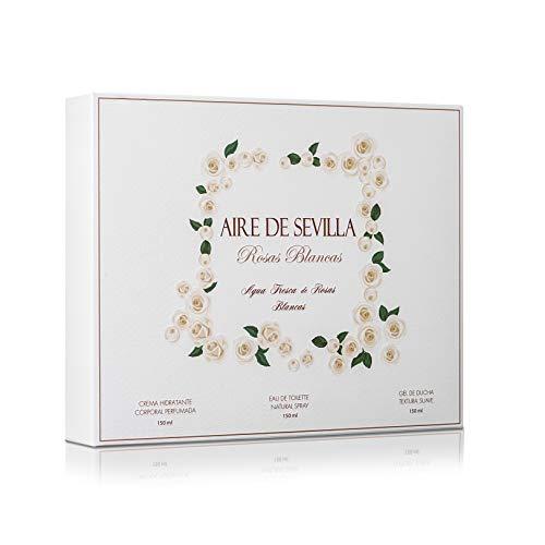 Instituto Español Set Perfume Mujer Rosas Blancas - Aire de Sevilla - EDT, Crema Hidratante, Gel de Ducha