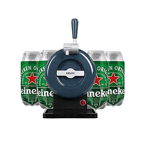 Les5CAVES - Tireuse à bière Starter Krups The SUB Classique Gris - Compatible avec les Fûts 2L The SUB + 4 fûts Heineken Torp 2L