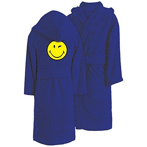 Smiley Bademantel, Baumwolle, Blau, 157 x 149 cm