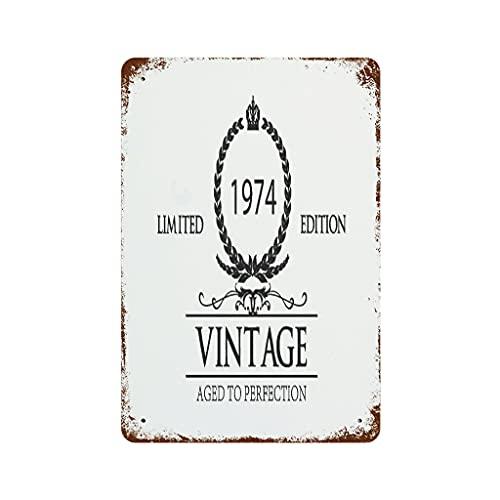 LIFOOST Letrero de estaño 1974 para copa de vino, multicolor, tema para pared, habitación blanca, 20 x 30 cm