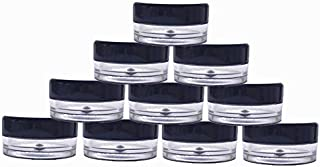 (50 Pieces, Black Lid) 5gram/5ml Round Clear Container Jars with Black Screw Cap Lids for Lip Balms, Makeup Samples Makeup Eye Shadow Nails Powder Jewelry - BPA Free