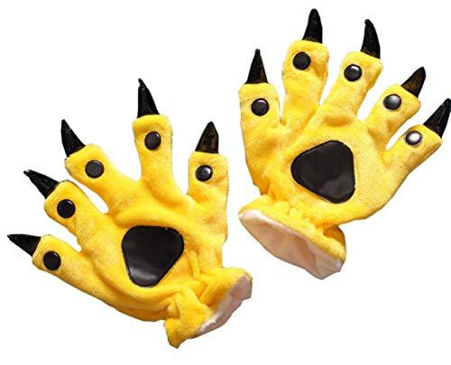 Tier Pfote Handschuhe Unisex Warm Plüsch Cosplay Tiertatzen Cartoon Klaue Halloween Kostüm Erwachsenen Zubehör, Gelb