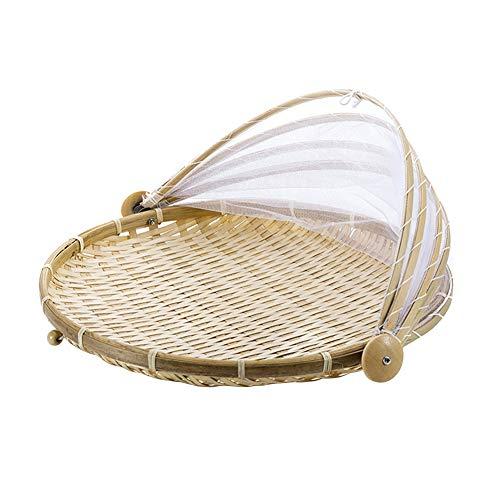 MLXG - Cesta antiinsectos tejida a mano, cesta de picnic antipolvo, cesta de mimbre con tapa hecha a mano para pan verduras frutas con gasa