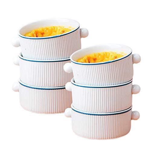 AWYGHJ Porzellan-Souff-Geschirr, 3-Zoll-3-Unzen-klassischer Stil weiße Ramekins Backbecher, stapelbare Servierschalen, für Pudding, Dessert, Joghurt-Kuchen