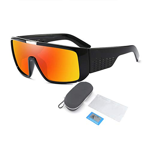 Gafas De Sol Polarizadas, Montura De Plástico Grande para Gafas Cuadradas Y Planas, Adecuadas para Hombres Y Mujeres Que Pescan, Montan Y Conducen,Naranja