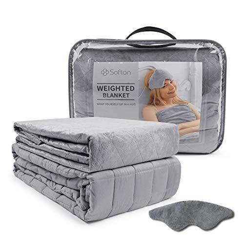 softan Beschwerte Gewichtete Decke 3 Stück(150 x 200cm 6.8kg)-TherapieDecke,Premium Cover, Schlafmaske, Grau