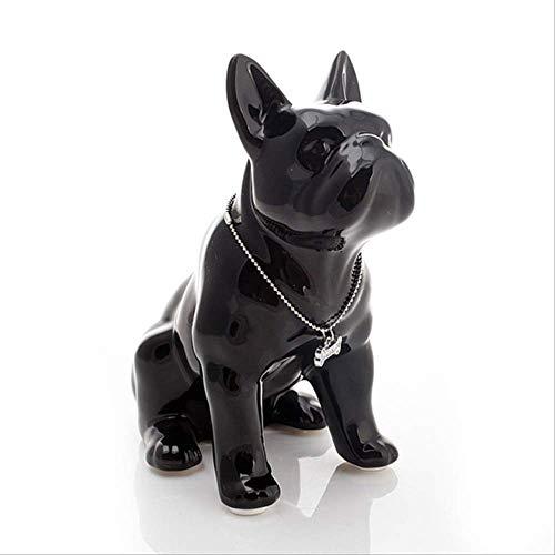 NOBRAND Bulldog francés Perro de cerámica Adorno para Mascotas Manualidades Porcelana Figuras de Animales Regalos 19X11X23Cm Negro