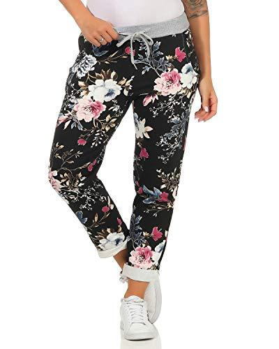 ZARMEXX Damen Sweatpants Baggy Boyfriend Sommerhose Sport All-Over Print One Size Muster 6 One Size (36-40)