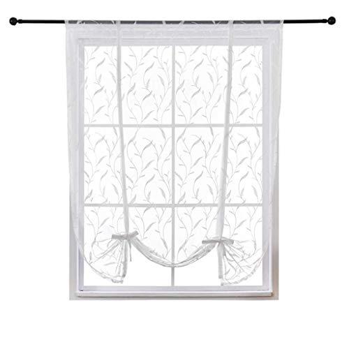SIMPVALE Cortina corta romana bordada con flores de arroz, cortina semiopaca para el hogar, 60 x 120 cm, color blanco