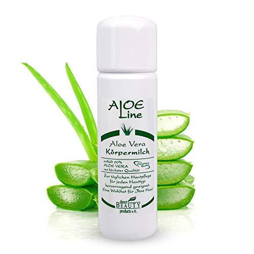Aloe Vera Körpermilch/Bodylotion - enthält 60% Bio Aloe Vera, Urea, Vitamin E & Allantoin - spendet Feuchtigkeit, strafft & pflegt die Haut - Made in Germany / 1er Pack (1 x 200 ml)