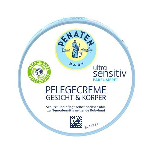 Penaten Ultra Sensitive Pflegecreme - Gesicht & Körper | Babypflege für zarte & empfindliche Babyhaut | 1x 100 ml