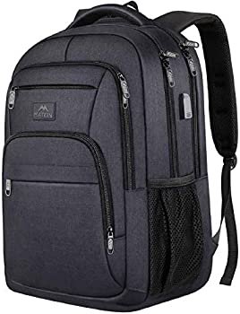 Laptop Backpack for Men 15.6 Inch Water Resistant Padded Computer Bag with USB Charging Port for Business Travel Work Durable Anti Theft College School Students Bookbag for Men Women Gifts Black