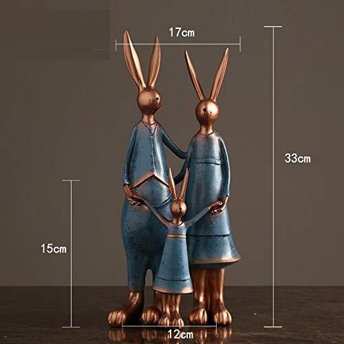 hacpigbb Familia De Tres Estatuas De Conejos Decoración De Resina con Efecto De Bronce Artesanía En Casa Adecuado para El Dormitorio Sala De Estar Estudio Habitación para Niños - Azul