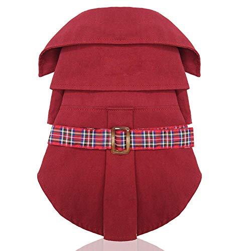 Ropa de algodón puro para perros, amantes del viento, falda para otoño e invierno, nueva mascota ofrece a los gatos ositos escocés, bonitos cortavientos, color rojo vino.