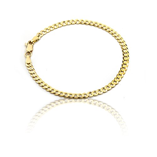 Floreo 10k Yellow Gold 4mm Solid Curb Cuban Chain Ankle Bracelet Anklet for Women and Girls, 8 Inch