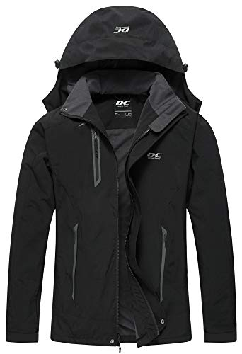 Diamond Candy Men Hooded Waterproof Jacket Casual Lightweight Rain Softshell Raincoat Outdoor Sportswear (Large, Black)