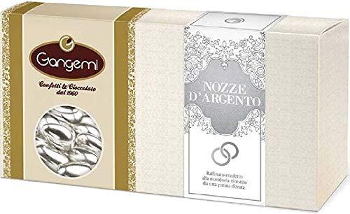Gangemi NOZZE D' ARGENTO - Raffinati Confetti con interno di Mandorla Rivestiti da una Patina Argentata - 1kg