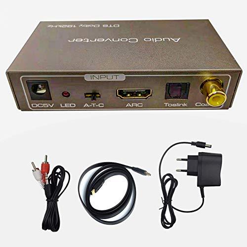 Convertitore Audio Multifunzione Tiancai, HDMI Arc oToslink (Ottico) o Coassiale Ingresso, Jack da 3,5 mm e Stereo L/R e Cavo Toslink (Ottico) e Coassiale Uscita, Supporto Uscita Dolby e DTS