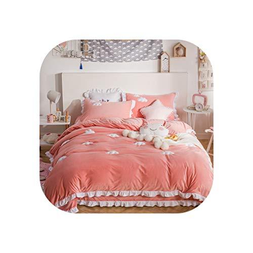 Blue Pink Thick Fleece Winter Cute Bedding Set King Queen Twin Size Kids Girls Bed Set Bedsheet Clouds Duvet Cover Pillowcase,Bedding Set 2,Queen 4pcs