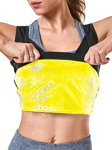 MOLLDAN Womens Sauna Vest Sweat Tank Top Shapewear Weight Loss Workout Shirt(S/M,Gold Lining)