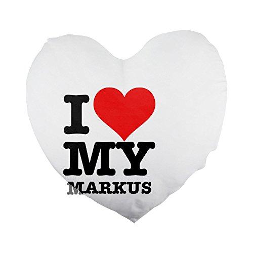 I Love My Markus - Funda de almohada con forma de corazón