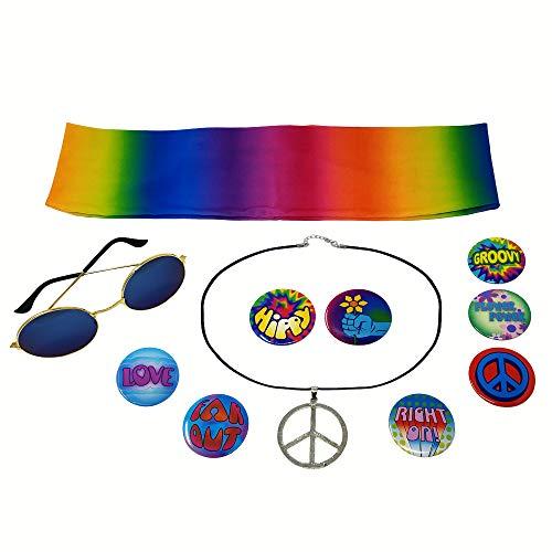 NorNovelties Hippie Costume Accessories - Peace Sign, Rainbow, Size One size