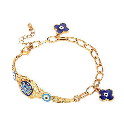 Nobrand Türkisches Blaues Auge Armband Gold Farbe Nie Verblasst Blau Böses Auge Kristall Charme Allah Armbänder Für Islam Frauen Muslimischen Schmuck