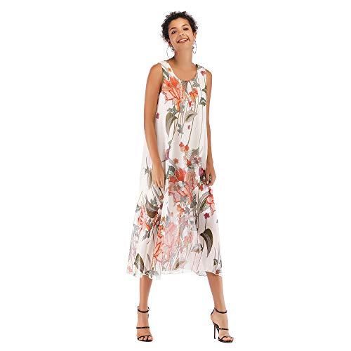 Muzboo Damen Strandrock, ärmellos, Blumenmuster, lässig, Tank, Caftan, Kleid / Cover Up(weiß)