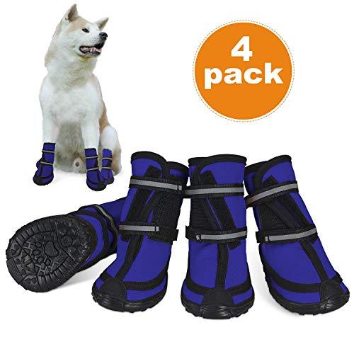 Dociote Hundeschuhe pfotenschutz mit Anti-Rutsch Scole, reflektierendem Riemen, Klettverschluss wasserdicht Schneeschuhe für mittelgroße große Hunde 4 Stück Blau