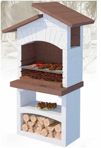 Lineavz Barbecue in muratura da Giardino Esterno Linea VZ Modello Santorini, Funziona a Legna