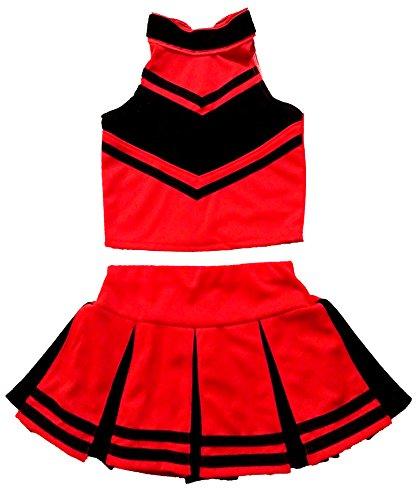 Little Girls' Cheerleader Cheerleading Outfit Uniform Costume Cosplay Halloween Red/Black (L / 8-10)