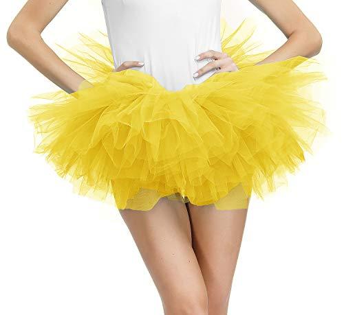 Yellow Tulle Tutus for Women Layered Tutu Skirt Adult Teens Classic Bubble Puffy Skirt Medium