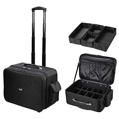 ReaseJoy Trolley Case Cosmetics Beauty Trolley Box Travel Makeup Case Storage Vanity Case Storage Organiser