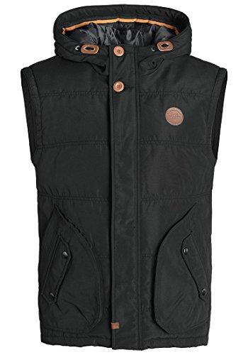 Blend Polito Herren Weste Steppweste Outdoor-Weste Mit Kapuze Und Stehkragen, Größe:XL, Farbe:Black (70155)